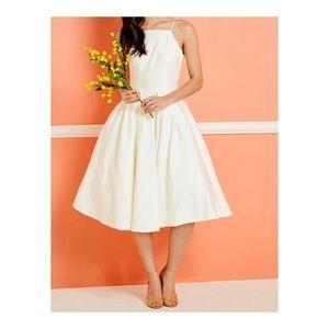 | Ivory A-line Tea Length Dress |